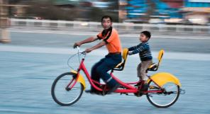 Father & Son on Tandem Bike