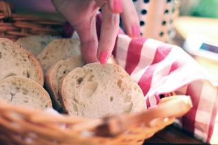 Grabbing bread