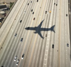 airplane shadow on freeway